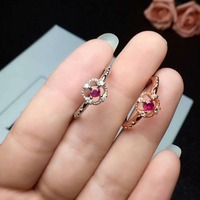 shilovem 925 sterling silver Natural red RUBY Ring fine Jewelry women trendy classic WEDDING open 3*3mm cj030301agh