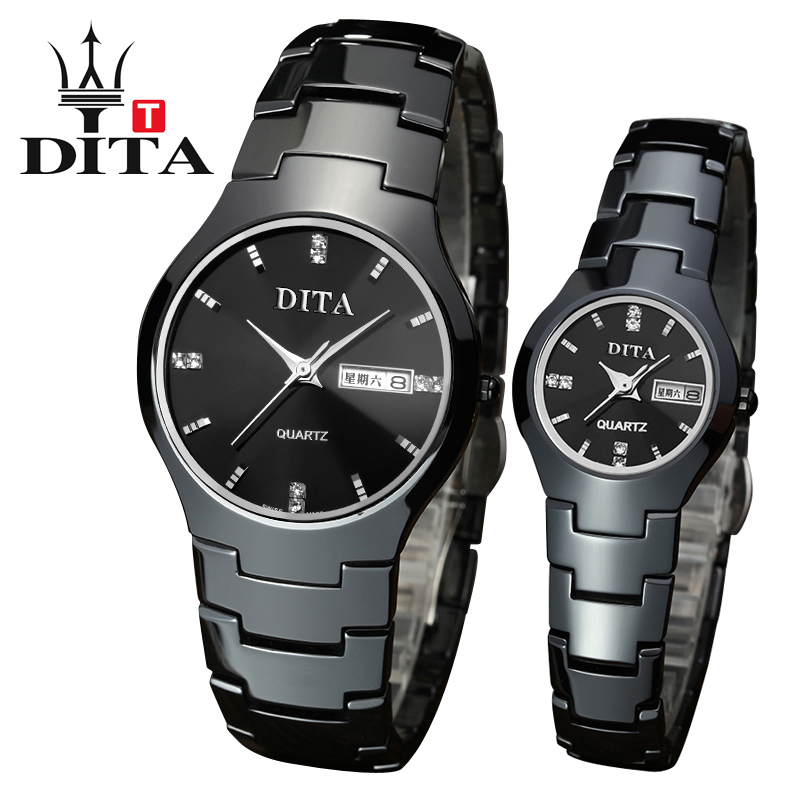 DITA Ceramic lovers Men Woman luxury analog watch black ceramic band Quartz Wristwatch date slim and stylish for couple watches l 10 women s stylish petals style bracelet quartz analog wristwatch golden white 1 x lr626