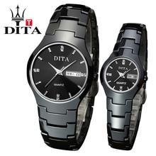 Dita amantes de cerámica de la mujer de los hombres de lujo fecha reloj análogo de cuarzo de la venda de reloj de cerámica negro delgado y elegante de relojes de los pares