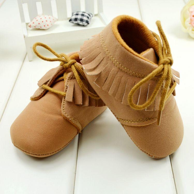Zapatos de bebé, Marrón y Rosa color de niño de Fondo Blando Para Niñas, niños 3