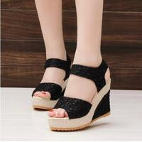 Fashion Women Shoes 2015 Summer New Open Toe Fish Head Fashion High Heels Wedge Sandals Female