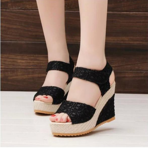 Women Sandals 2017 Summer New Open Toe Fish Head Fashion High Heels Wedge Sandals female shoes women platform shoes free shipping fashion 2017 new summer wedges platform sandals women black and white open toe high heels female shoes z596