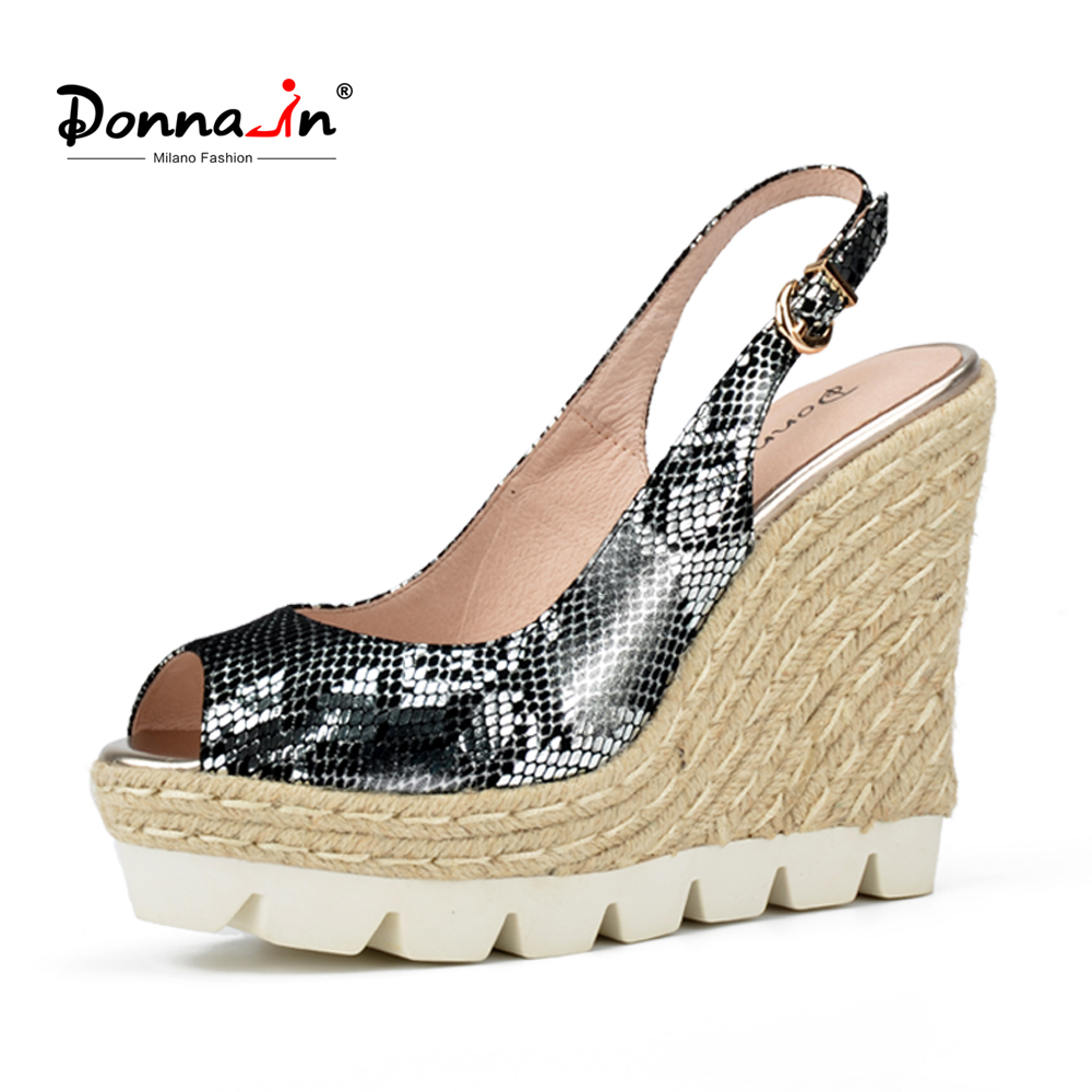Donna-in Women Shoes Genuine Leather Sandals Platform High Heels Wedge Sandals Open Toe Snake Pattern Ladies Sandals 2018 Summer summer wedges shoes woman gladiator sandals ladies open toe pu leather breathable shoe women casual shoes platform wedge sandals