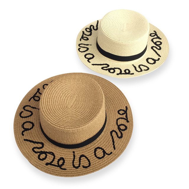 eabec31d3fa dropshipping Hot sale summer fashion letter wide brim sun hats for women  Ribbon Round Flat Top