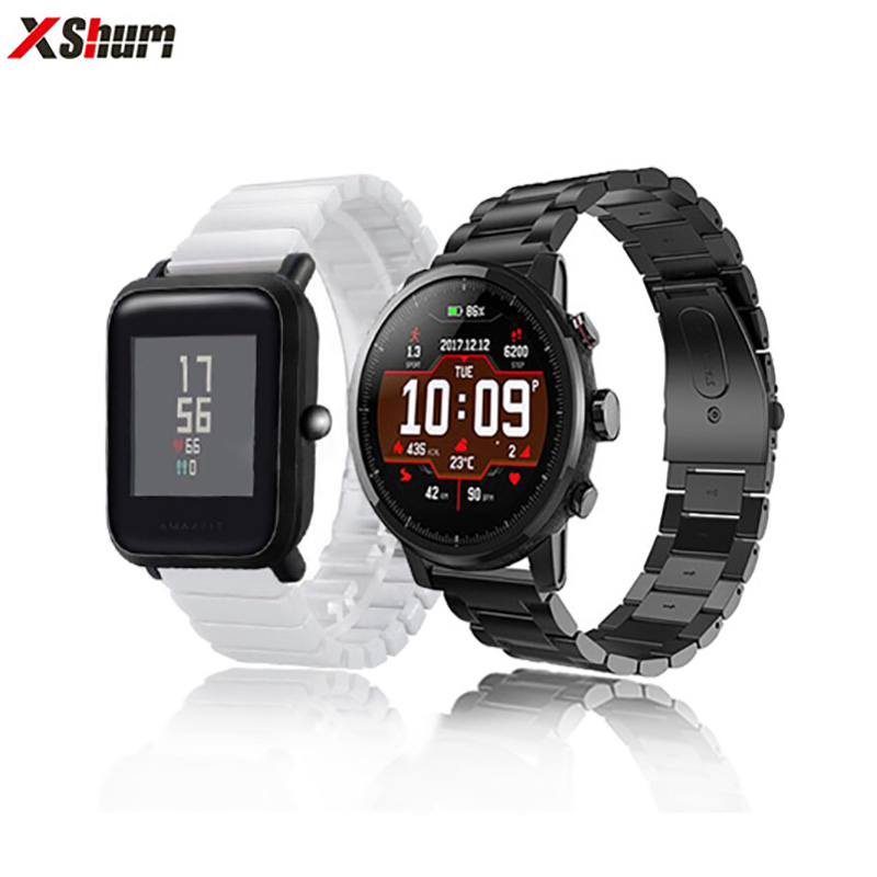 XShum Band For Xiaomi Amazfit Bip/Pace/Stratos Ceramics Strap or Stainless Steel Wrist Strap Smart Watch bracelet AccessoriesXShum Band For Xiaomi Amazfit Bip/Pace/Stratos Ceramics Strap or Stainless Steel Wrist Strap Smart Watch bracelet Accessories