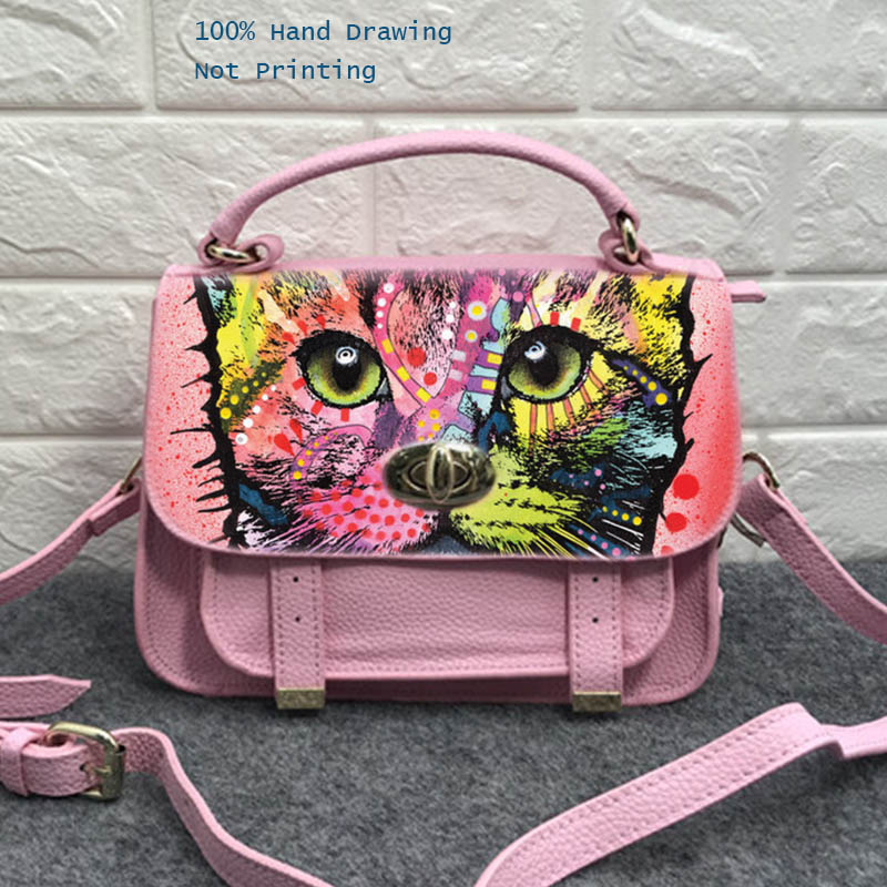 Print Painting Sweet Flamingos Designer bag Cow Leather Handbags Hand Drawing Female Messenger Shoulder Crossbody bag for women