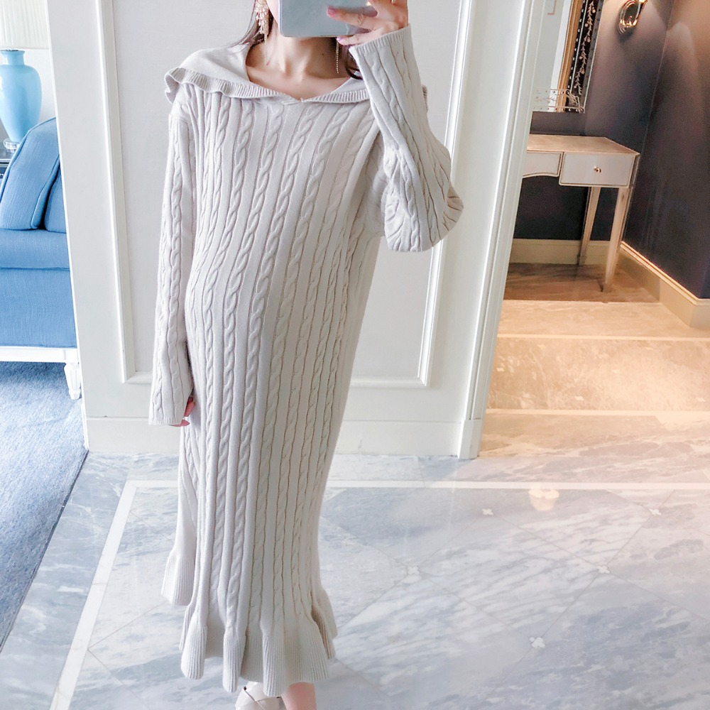 Pregnant women sweater 2018 autumn and winter new fashion long-sleeved hoodie long paragraph loose large size maternity dress fashion women s autumn winter v neck long sleeved cotton waist dress black size l