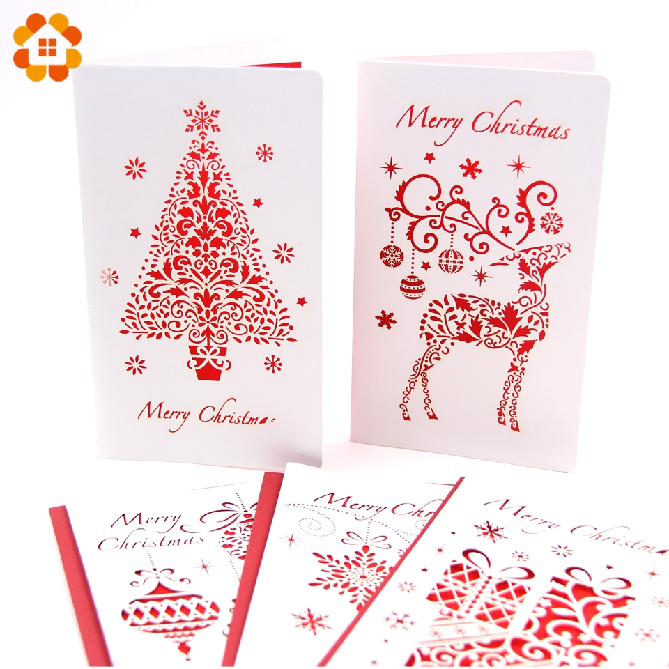 Hot Sale 3PCS/Lot Christmas Cards With Envelope Laser Cut Post Card ...