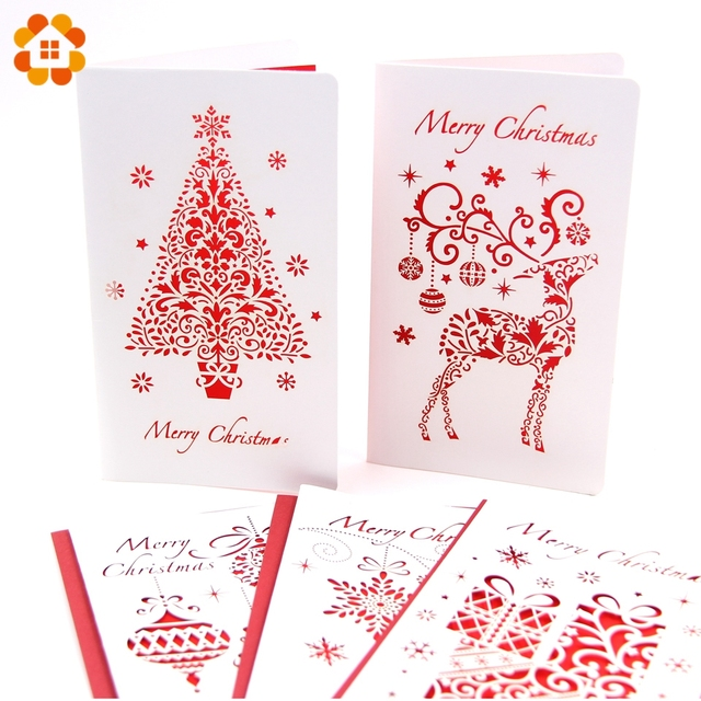 3pcslot christmas cards with envelope laser cut post card folding greetinginvitation card
