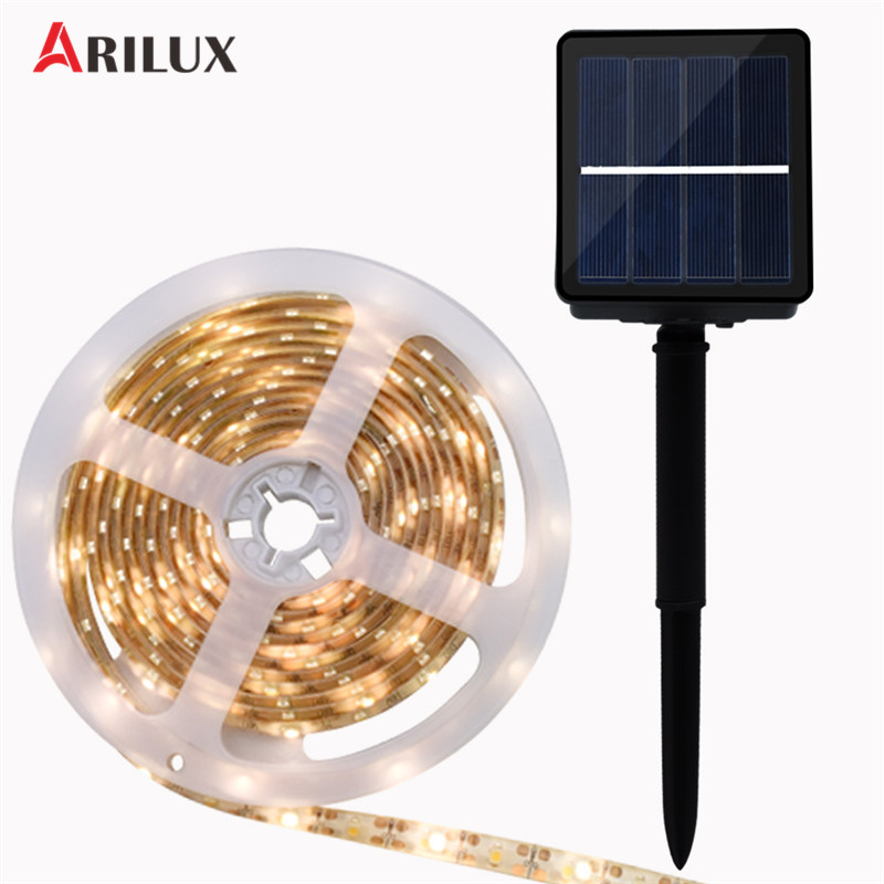 ARILUX 0.7W 8 Modes Solar Powered LED Strip Light SMD2835 RGB Warm White Waterproof Outdoor LED Holiday String Light DC2V solar powered 6w 100 led rgb light water resistant flexible tube light white black