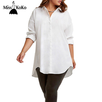 MissKoKo Plus Size New Fashion Women White Letter Printed Turn-down Collar Blouse Loose Casual Lapel Long Sleeve Street Tops