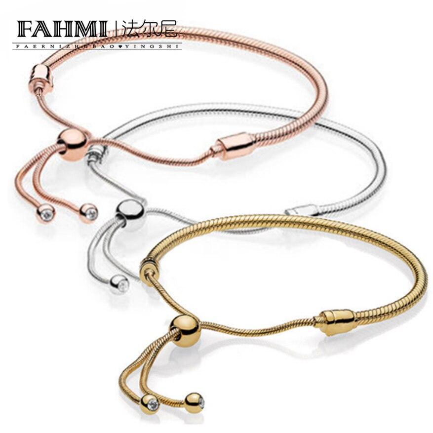 FAHMI 100% 925 Sterling Silver New Rose Gold 18K Gold Golden Glitter Instant Slide Bracelet цена 2017
