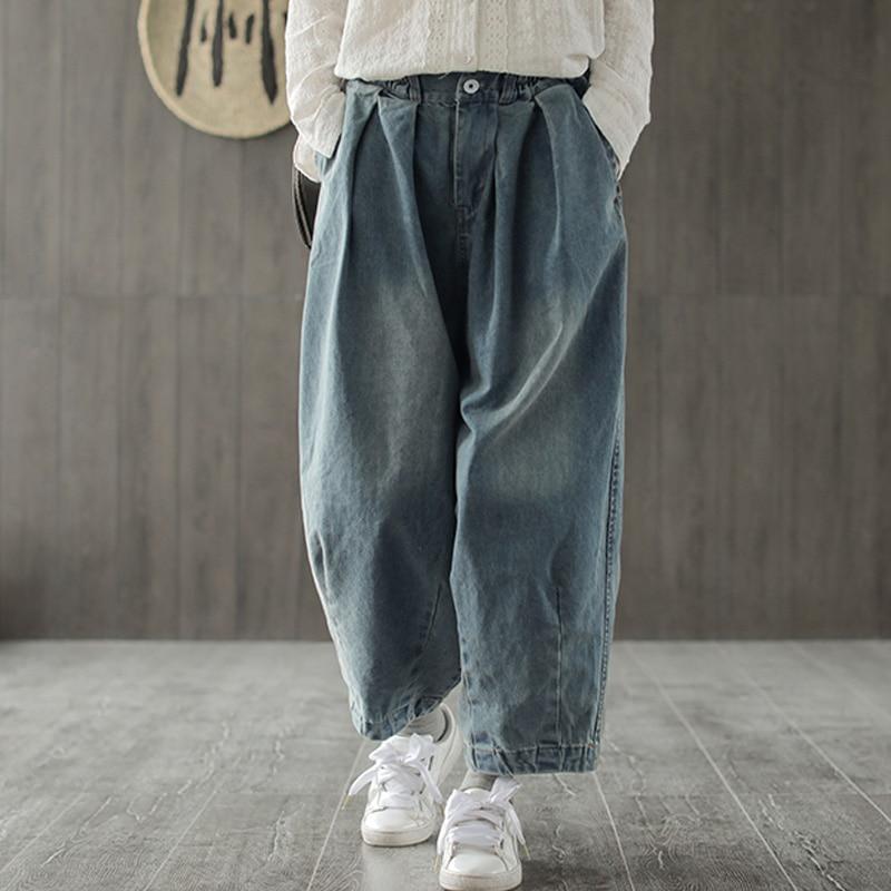 Johnature Women   Wide     Leg     Pants   Denim Trouser 2019 Spring New Pockets Blue Vintage Women Clothing Loose Fold Jeans Button   Pants