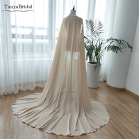 Champagne Cape Chiffon Wedding Wrap Women Evening Cloak Bridal Accessories Noivas 2m length DJ050