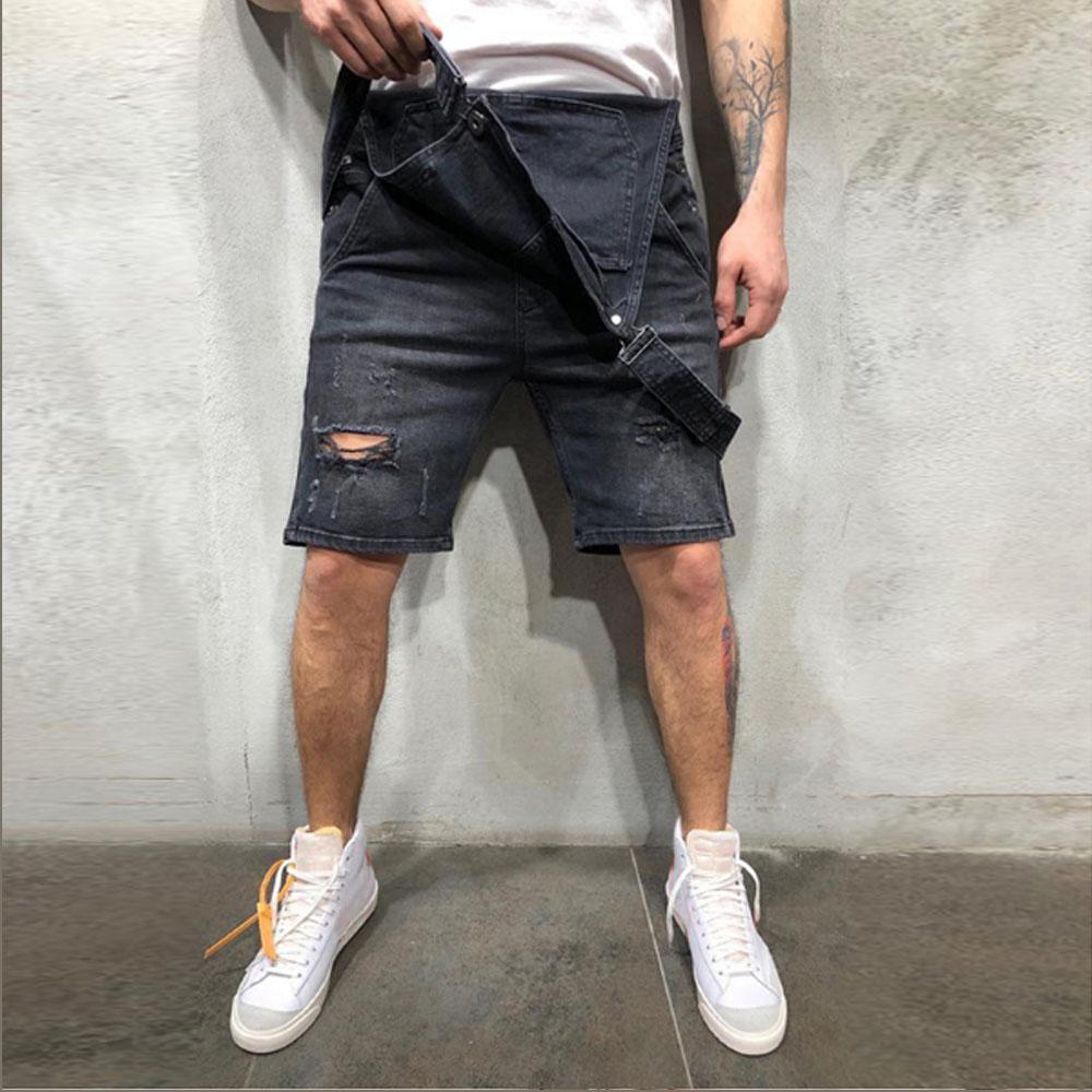 2020 Oversize Fashion Men's Ripped Jeans Jumpsuits Shorts Summer Hi Street Distressed Denim Bib Overalls For Man Suspender Pants 4