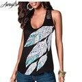 Awaytr de Gran Tamaño O-cuello Femenino de La Camiseta 2016 Del Verano Sin Mangas de Plumas Impreso Camisetas para Mujer de Encaje Casual Hollow Tops Tees