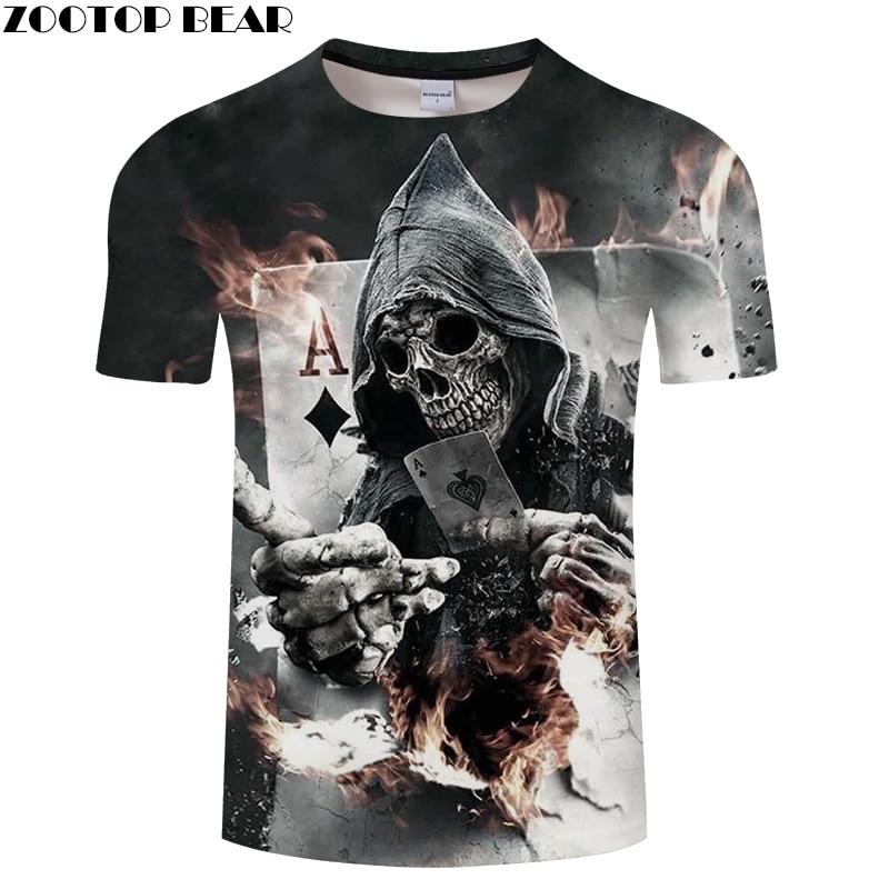 Skull Poker 3D Printed Men's T-shirt Women t shirt  2018 Summer Short Sleeve Tops Tees Drop Ship ZOOTOP BEAR