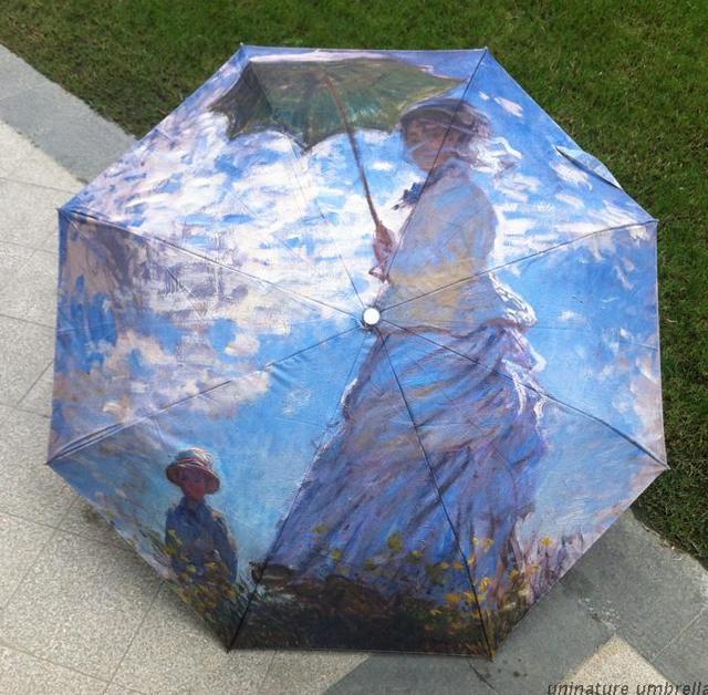 Us 14 9 Claude Monet Famous Oil Painting Umbrella Woman Ultra Anti Uv Black Coating Parasol Women Rain Umbrellas In Underwear From Mother Kids On