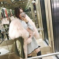 Women's Cotton Parka with Mongolian Sheep Fur Real Fur Parka Casual Fur Hoodie rf0218