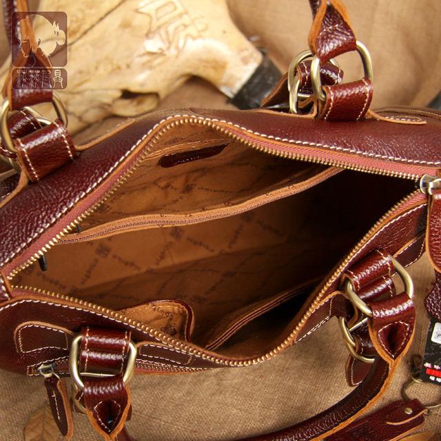 Ægte læder kvinder håndtaske retro dokumentmappe