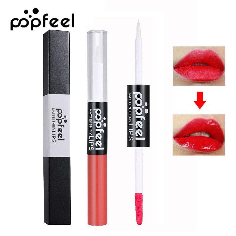Popfeel 12 Colors Waterproof Lip Gloss <font><b>Taste</b></font> Bright Moisturizing matte Double-use Lipstick Pencils Lip Gloss <font><b>Nude</b></font> Cosmetics