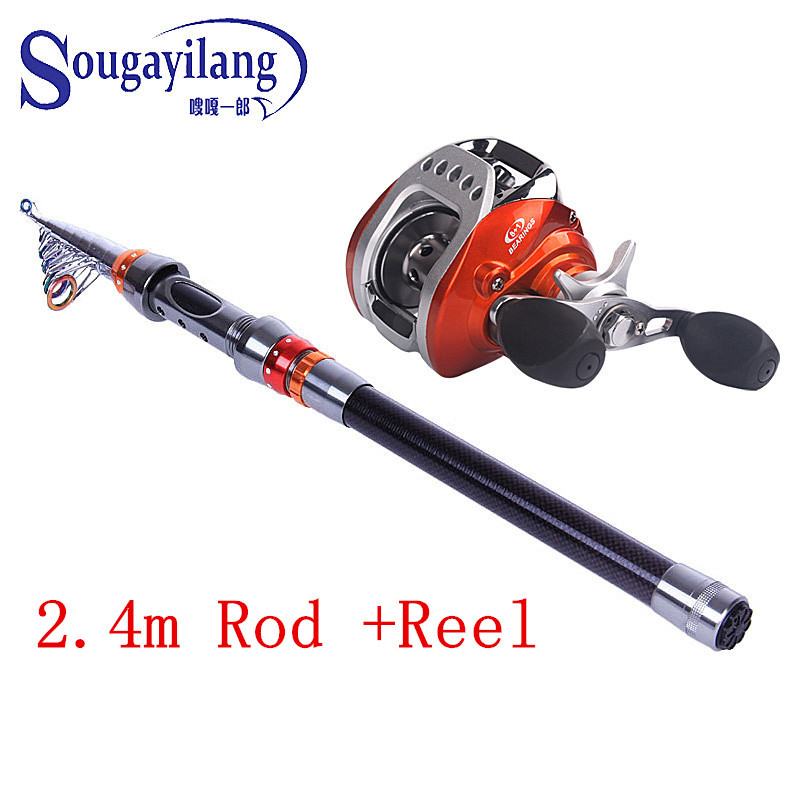 Souganyilang 2.4m 2.7m 3.0m 3.6m Telescopic Fishing Pole Combo Carbon Fishing Rod Reel Lure Fishing Spinning Rod Fish Tackle Set