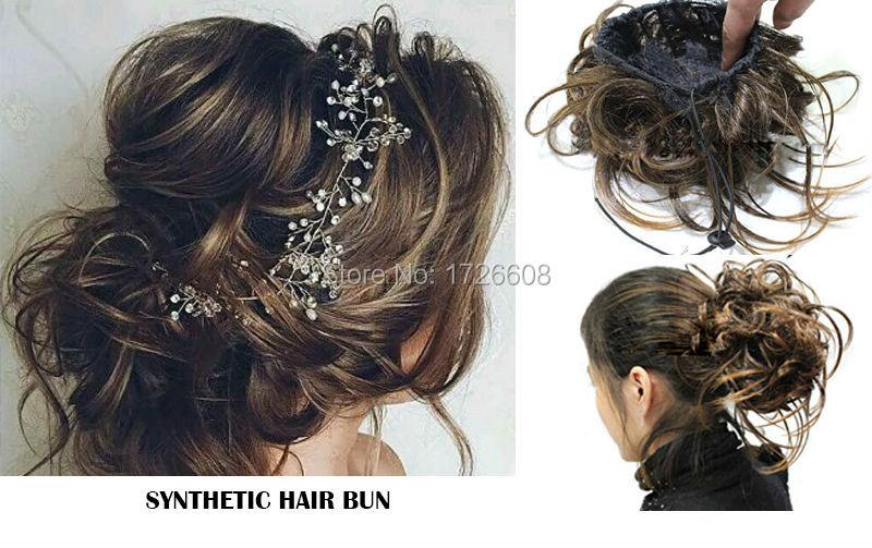 faux chignon pices clip in buns chignon postiche synthtique cheveux marie coiffures de mariage accessoires bandeau - Postiche Chignon Mariage