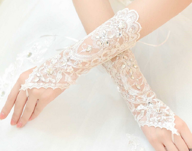 new 2017 guantes de novia para vestidos de novia de diamantes de