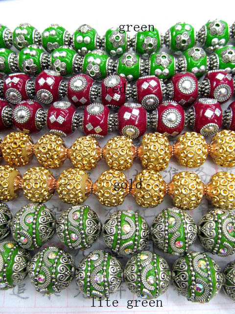18mm 100pcs fashion handmade round clay &crystal ball kashmiri polymer with brass gold red green jewelry beads wholesale bulk 20mm 100pcs handmade round clay
