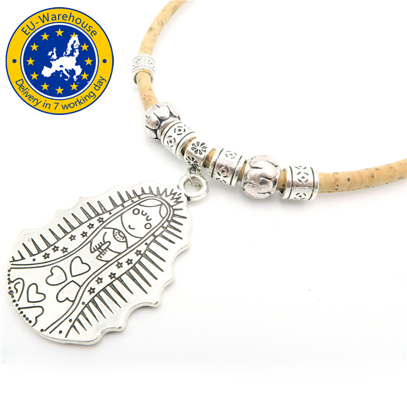 Cork Jewelry: MB Cork,Virgencita Cuidame Xfis Charm Cork Necklace