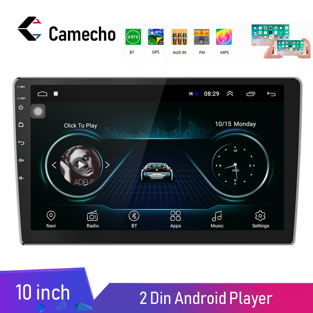Camecho Android 8.1 Car Radio Stereo GPS Bluetooth WiFi Universal 7'' 2 din Car Radio Stereo Quad Core Multimedia Player Audio