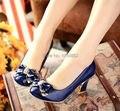 Trabajo zapatos de tacón alto talón grueso arco jardines pequeños 31 32 zapatos femeninos dulces más el tamaño 42 43 solos zapatos