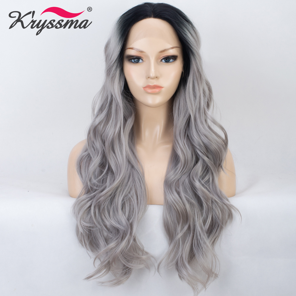 Ombre Grey Long Wavy Wig Synthetic Lace Front Wig Silver Black Roots to Grey Wigs for