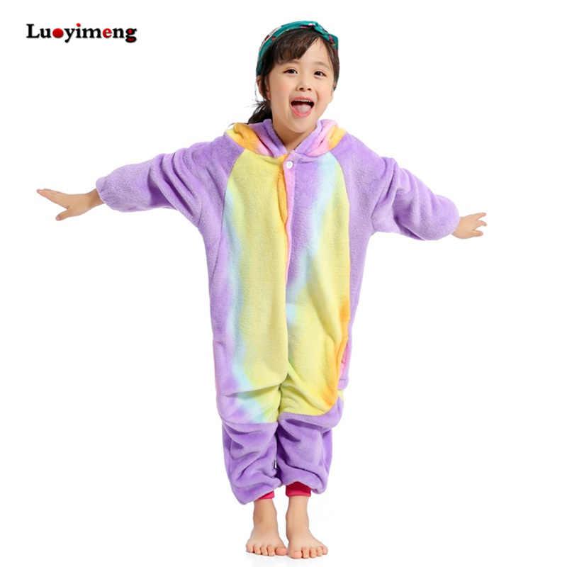 f0a1400602 Girls Rainbow Unicorn Onesie Kids Kigurumi Cartoon Flannel Winter Pajamas  Jumpsuit Children Animal Blanket Sleepers Boys