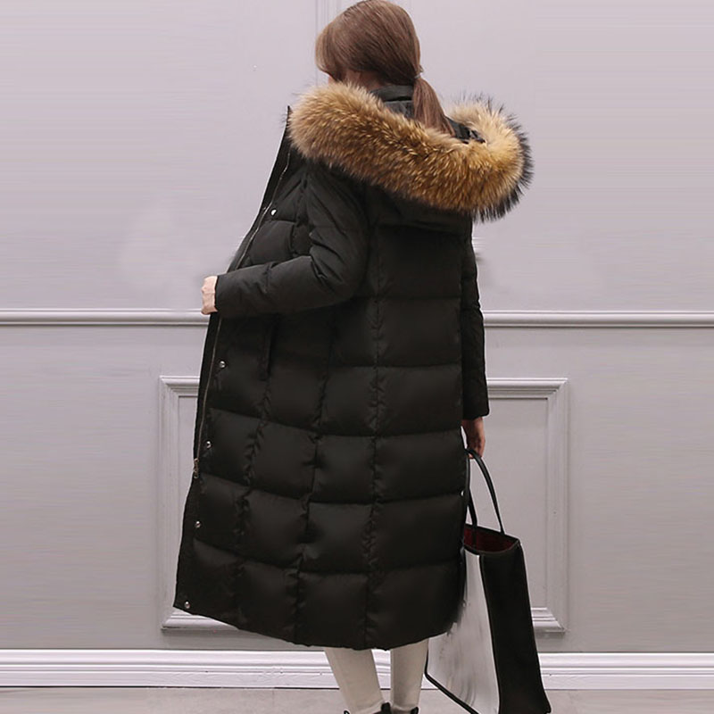 New Fashion winter Womens down jacket oversize white duck down coat large real raccoon fur Hooded Parka long outerwear QH0922