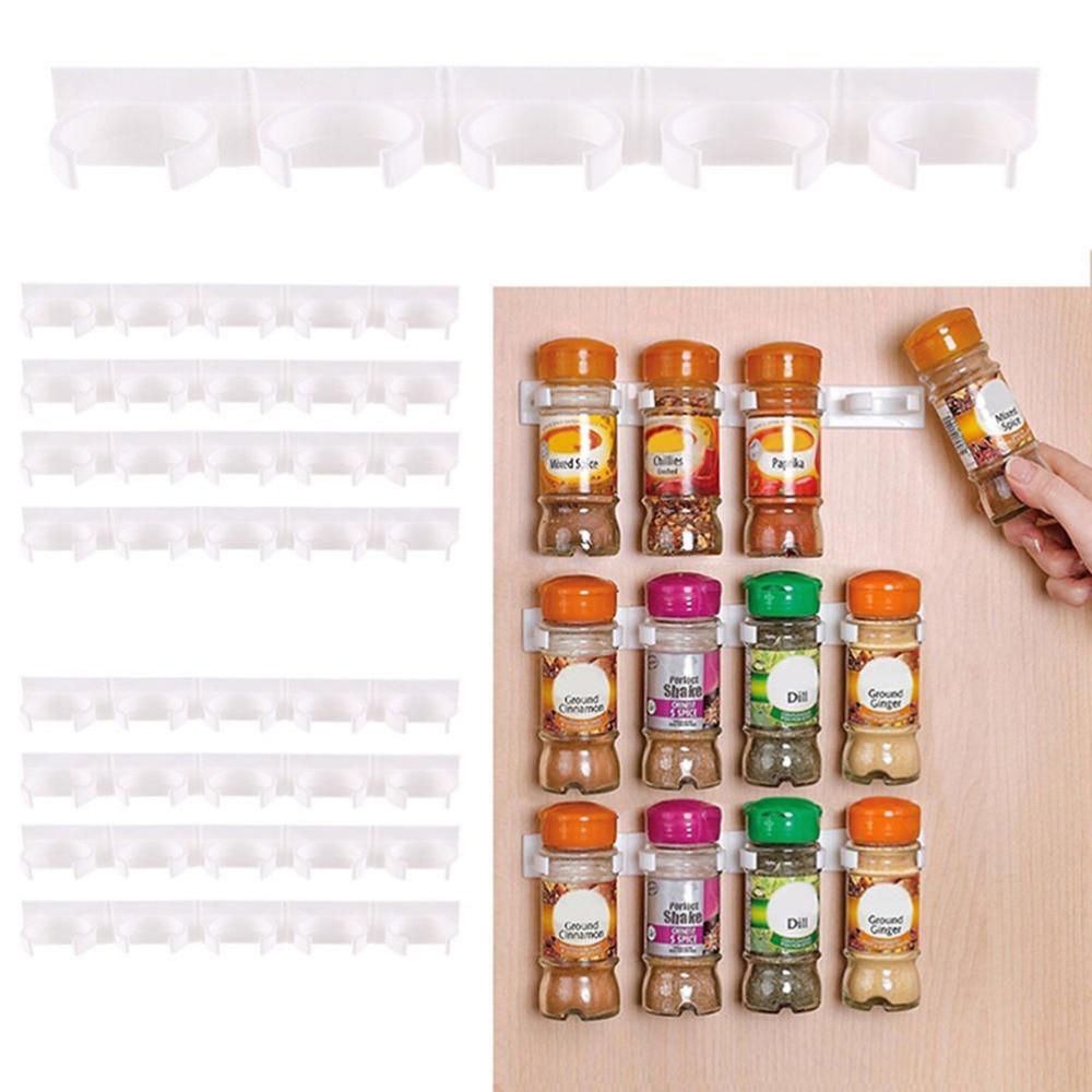 20 Cabinet Door Hooks Spice Wall Rack Storage Plastic Kitchen