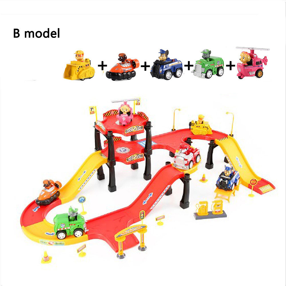 NewParking Tracks font b Toy b font Cars Cartoon Puppy Dogs Parking Lot Model Car Game