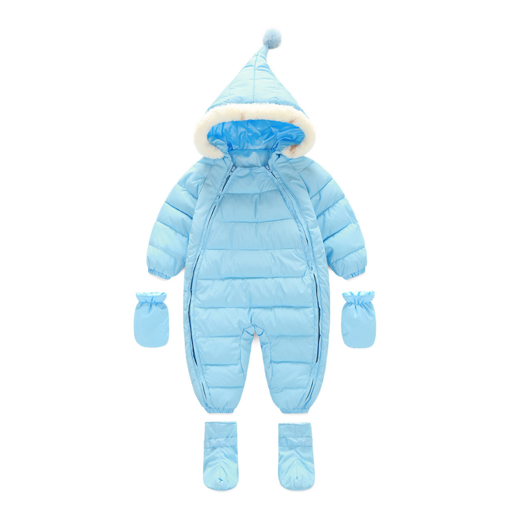 Hot Sell Baby Boys Girl Warm Long Sleeve Cotton Convenient Zipper Rompers Winter baby infant Siamese toddler romper jacket hoody newborn baby rompers baby clothing 100% cotton infant jumpsuit ropa bebe long sleeve girl boys rompers costumes baby romper