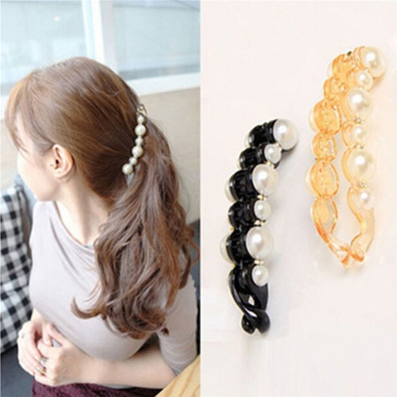 Learned 1pc Pretty Long Barrettes Big Simulated Pearl Hair Clips For Women Girls Ponytail Banana Hairpins Hair Accessories Black/brown Apparel Accessories