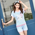 2007 más el tamaño estilo pijamas de las mujeres del verano pone en cortocircuito feminino hello cat ropa para mujeres ropa de dormir lindo pijama unicornio m-2xl