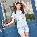2007 plus size mulheres pijamas de verão shorts estilo define sleepwear feminino olá cat roupas das mulheres bonito pijama unicornio m-2xl