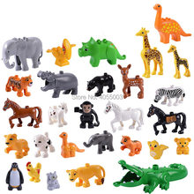 Legoing Shark Duploe Animals Big Zoo Building Blocks Sets Bricks Educational Model Kid Christmas Gift Toy Legoings Friends Duplo(China)