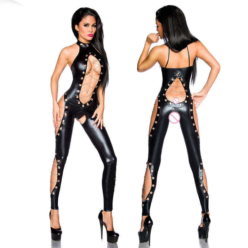 Nouveau élégant noir érotique Faux cuir Catsuit pour les femmes licou body chaînes et évider conception ouverte entrejambe combinaison