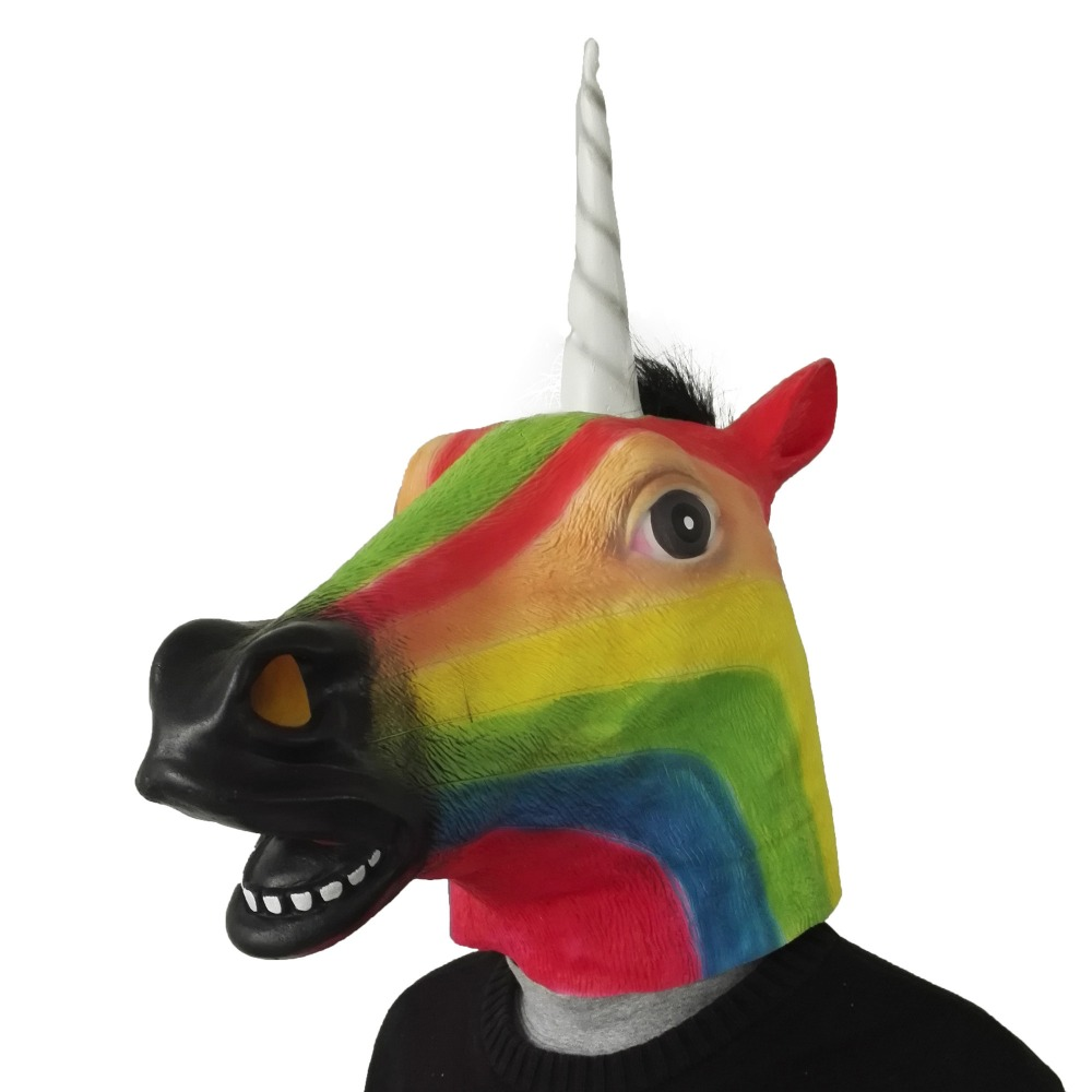 fd8023c6c691 100 pcs free shipping Mask Full Face Halloween Rainbow Horse Unicorn Mask  Novelty Creepy Head Latex
