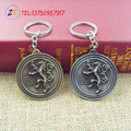 New HBO Game of Thrones Family crest Casterly Rock:House Lannister Silver 5cm Metal Keychain Keyring Jewellery men's jewelry