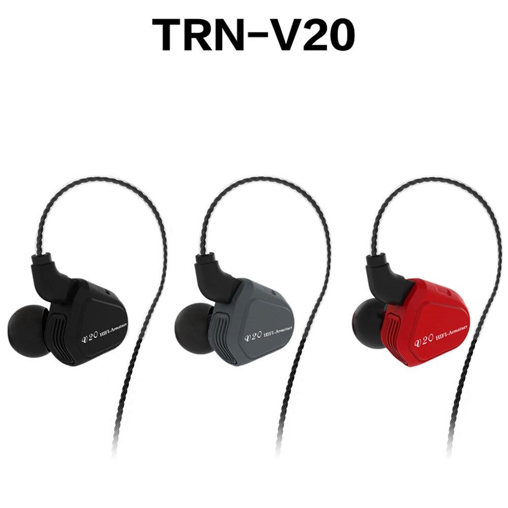 100% новый TRN V20 1DD + 1BA Гибридный в ухо наушники HIFI DJ Monito кроссовки спортивные наушники ушной гарнитуры с 2PIN съемная
