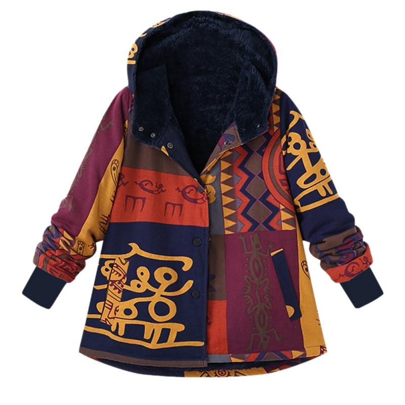Ladies Warm   Basic     Jacket   Plus Size 2018 Women Winter Coat Femme Hooded Print Outerwear