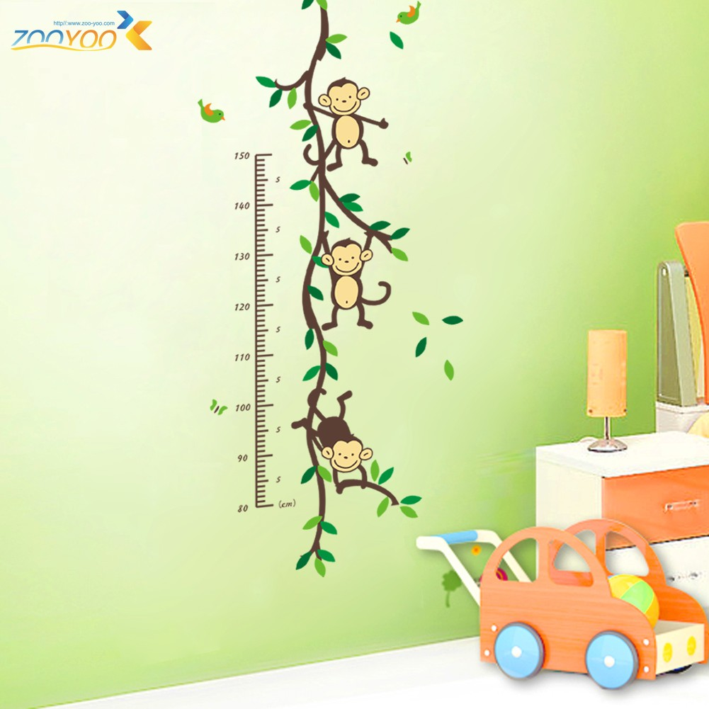 Cute Monkeys Playing On Trees Wall Stickers For Kids