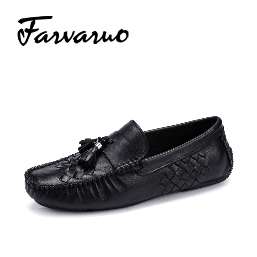 Farvarwo 2017 Fashion Mens Casual Loafers Genuine Leather Slip-on Driving Shoes Soft Moccasins New Spring Men Flats Tassel Shoes dxkzmcm new men flats cow genuine leather slip on casual shoes men loafers moccasins sapatos men oxfords