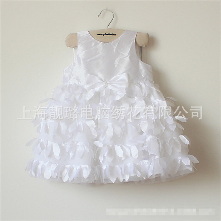 Petals White 1 2 Years Old Baby Girl Dresses1st Birthday Party Vestido Atacado De Roupas Infantil Imported Clothing 80857